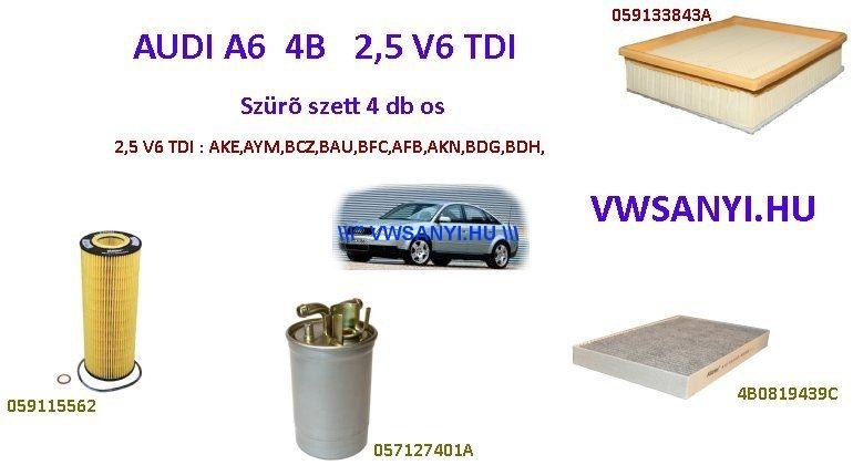 Olajcsere Szürőkészlet Szett AUDI A6 4B 1998-2004 2,5 V6 TDI