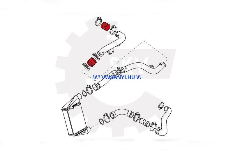 Intercooler cső összekötő nagynyomású Tömlő TDI